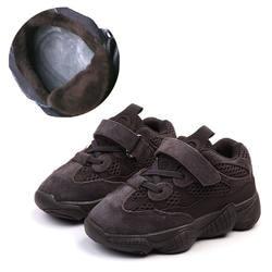 Зимние теплые сникерсы с меховой подкладкой для маленьких мальчиков и девочек, кожаные повседневные кроссовки, школьные спортивные