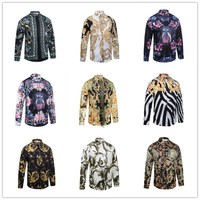 2017New Fashion Wave Of Men Floral Print Colour Mixture Luxury Casual Harajuku Shirts Long Sleeved Patchwork