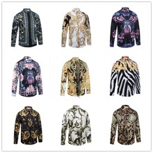2017 Shirt männer Welle Der Männer Blumendruck Farbe Mischung Luxus Lässige Harajuku Shirts langarm Patchwork männer Medusa Shirts