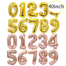 large number 40 inches gold silver aluminum folie ballonnen letter rose foil helium balloon globos воздушные шарики шары дл