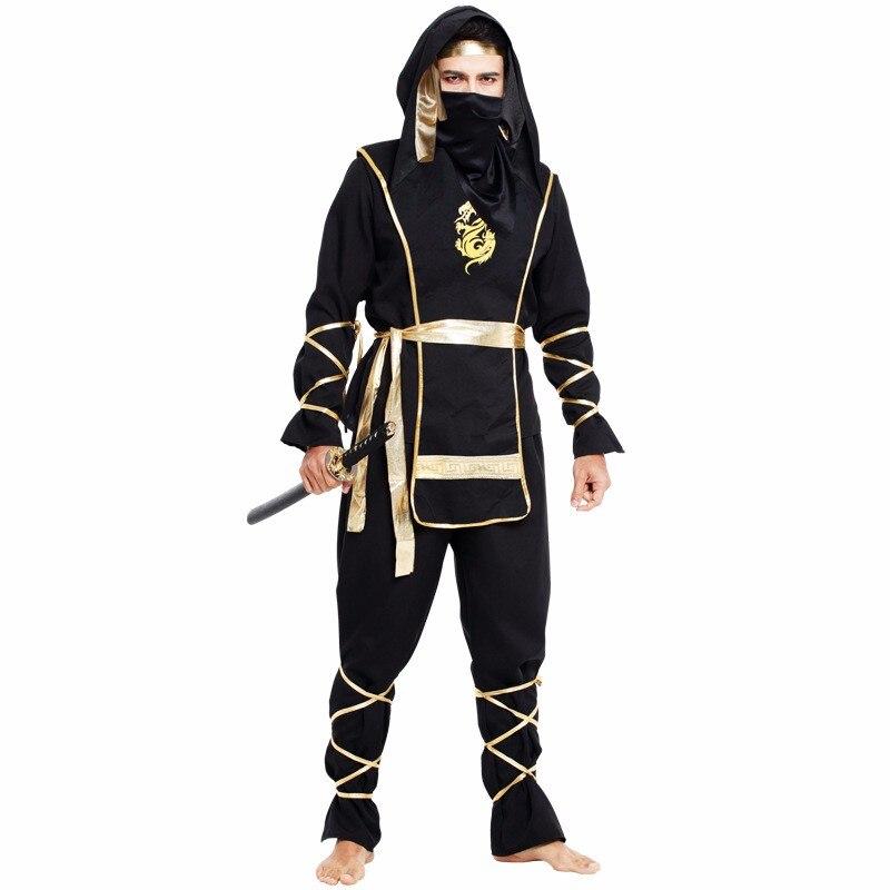 New Year Man Adult Black Ninja Costumes Halloween Party Clothing Hokkaido Samurai Suit Japanese Ninja Costume