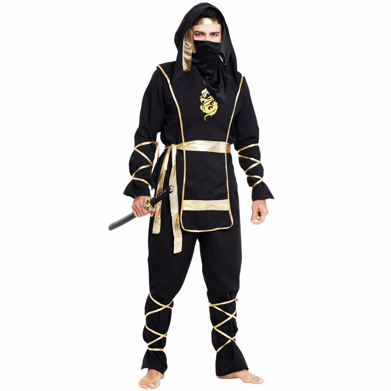New Year Man Adult Black Ninja Costumes Halloween Party Clothing Hokkaido Samurai Suit Japanese Ninja Costume