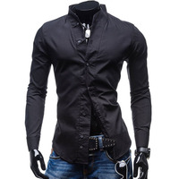 Shirts Men Long Sleeve Shirt 100 Cotton Mandarin Collar Plain White Shirt Men Blue Slim Fit