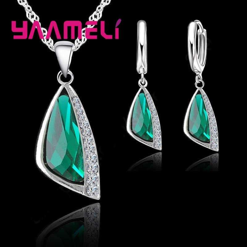 925 Sterling Silber Schmuck Sets Geometrische Österreichischen Kristall Anhänger Halskette Hoop Ohrring Für Frauen Hochzeit Engagment