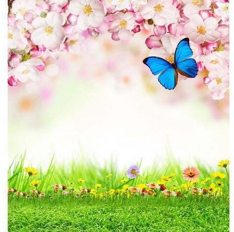 8x8ft Primavera Luce Bianca Fiori Rosa Verde Erba Giardino Delle