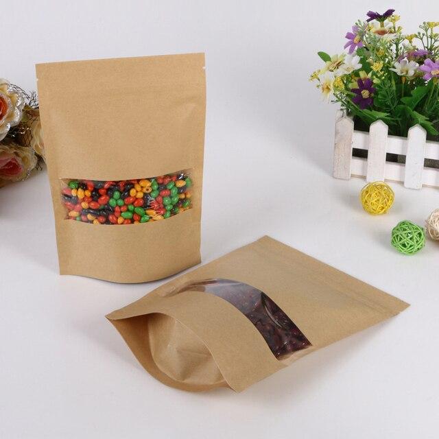 18 30 5 50pcs brown self zip lock kraft paper bags with window for