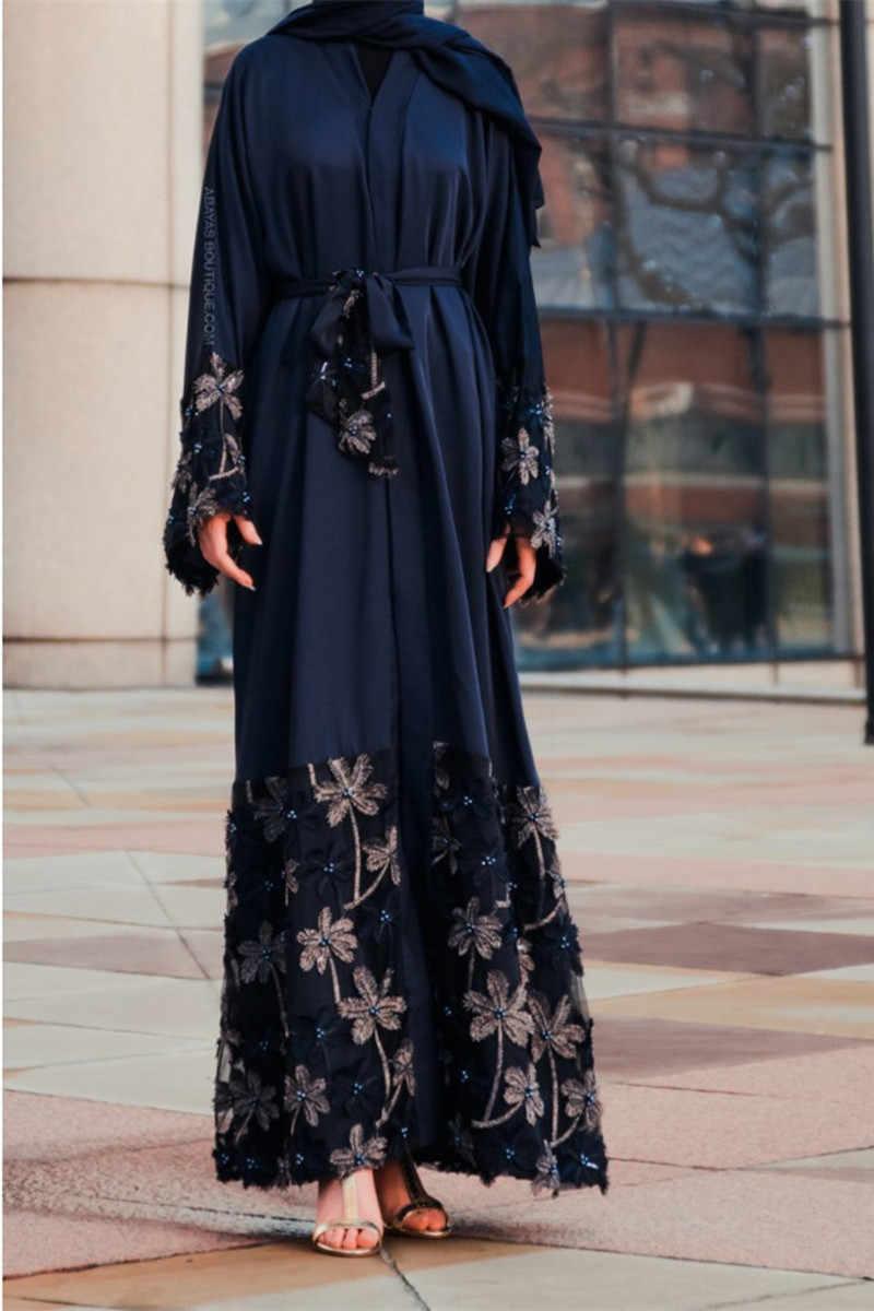 Открытое кимоно абайя Дубай, Турция, мусульманская одежда, черный, красный, кружево, цветы, кафтан, женский кардиган с повязками, мусульманский Халат