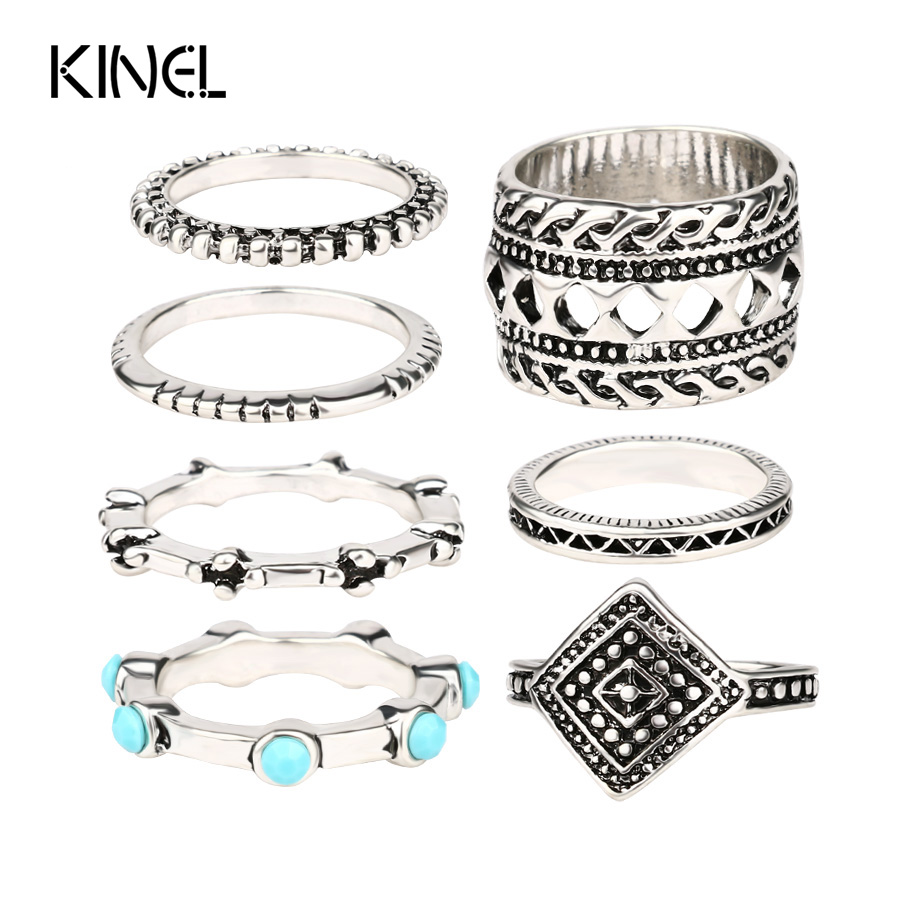 Moon And Star Midi Rings Retro Tibetan Alloy Plated Silver Punk Style Personality Rings For Women Cheap Sell 7PCS /Lot