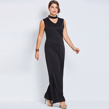 Jumpsuit Plus Size 4XL 5XL Women Plain Solid Black Broadcloth Hollow Jumpsuit Plus Size Women Jumpsuit