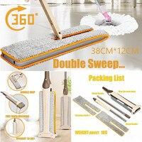 Double Sided Wet Dry Muti Function Flat 2Pcs Mop Cloth Telescopic Mop Dust Push Mop Kitchen