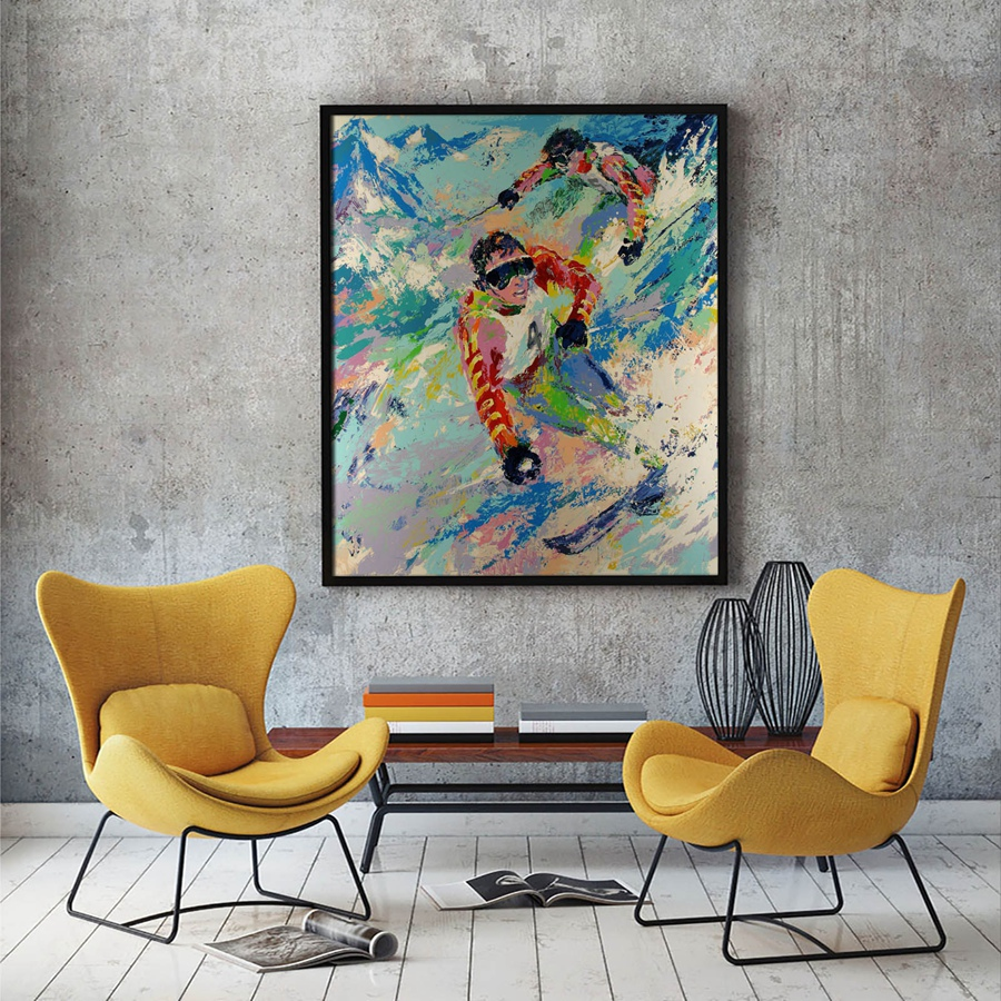 Couchtisch Riverside Us 18 89 30 Off A1856 Leroy Neiman Colorful World Ski Athletes Figure Hd Canvas Print Home Decoration Living Room Wall Pictures Art Painting In