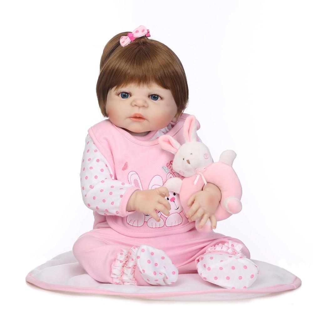 57cm Full Silicone Body Reborn Baby Doll Toy Lifelike 23 inch Newborn Girl Princess Bebe Reborn Doll Bathe Toy Kid Gift