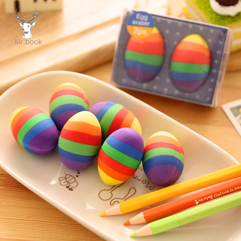 2pcs/box Colorful Dinosaur Eggs Easter Creative Stationery Eraser School Stationary Kids Christmas Gifts Pencil Rubber Eraser