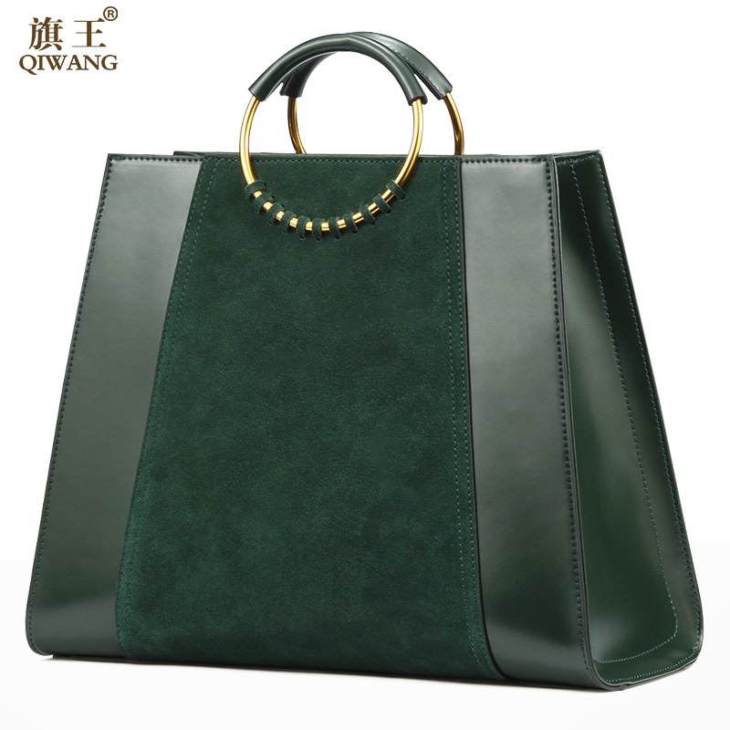 QIWANG Green Genuine Leather Women Tote Handbag With Circle Handles High Quality Suede Leather Elegant Ladies Green Bag qiwang real genuine green leather women handbag suede green fashion tote bags elegant ladies luxury bag for women large