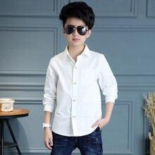 Белые школьные рубашки на пуговицах для мальчиков; коллекция года; рубашки с длинными рукавами и отложным воротником для мальчиков; детские топы; одежда для детей-подростков; Bs020