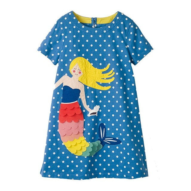 Girls' Casual Printed Short Cotton Dress