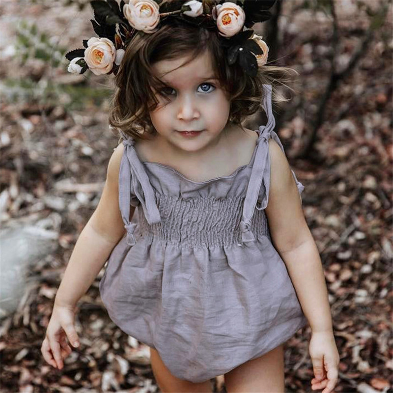 New fashion Autumn Infantil girls rompers solid kids clothes jumpersuit cotton sleeveless rompers baby belt
