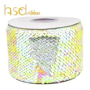 Image 4 - HSDRibbon 3 นิ้ว 75 มม.สีเลื่อมผ้า Reversible Glitter เลื่อมริบบิ้น 25 หลา/ม้วน