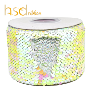 Image 4 - HSDRibbon 3 inch 75mm double color Sequin Fabric Reversible Glitter Sequin Ribbon 25Yards/Roll