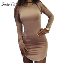 SMILE FISH Plus Size Women Clothing 2018 Long Sleeve Mini Sexy Bandage  Dresses 4ce780392