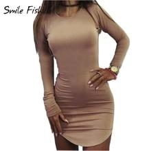 Plus Size Women Clothing 2017 Long Sleeve Mini Bodycon Tunic Slim Party Sexy Clubwear Side Split Tshirt Bandage Dresses M0462