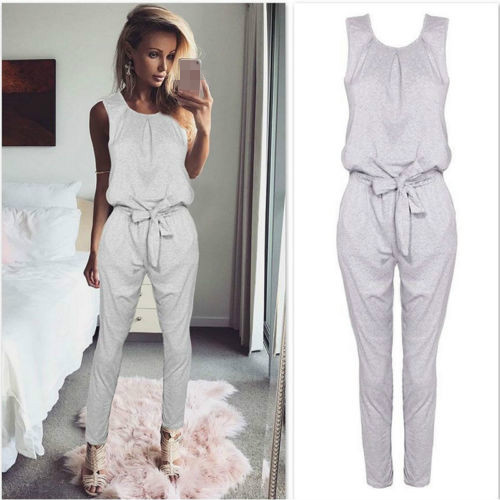 089941aa4076 Casual Women Jumpsuit Fashion Party Romper Long Pants Jumpsuits Jumper  Sleeveless Waist Tie Bow Body Suit Tracksuit
