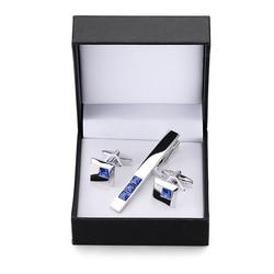 Alta qualidade botões de punho gravata clipe para pino de gravata para presente masculino azul cristal gravata barras abotoaduras gravata clip conjunto frete grátis