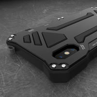 For Apple iphone X XR XS MAX Case Doom Armor Carbon Fiber Metal Gorilla Tempered Glass Protect Phone Case 7 8 6 6s Plus 5S SE