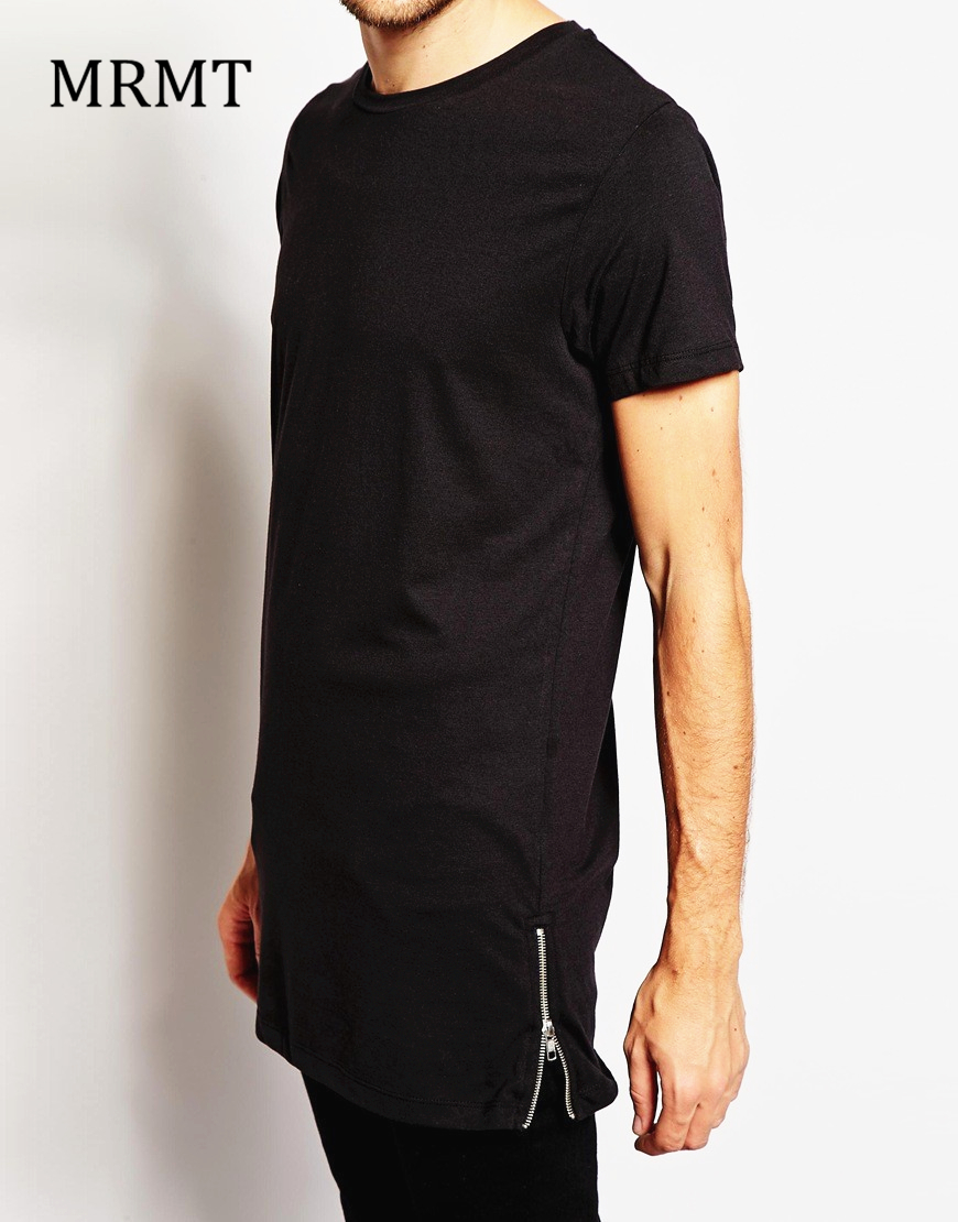Black t shirt with zipper - Brand New Clothing Mens Long Length Black T Shirt 2017 Hip Hop Extra Longline Streetwear T