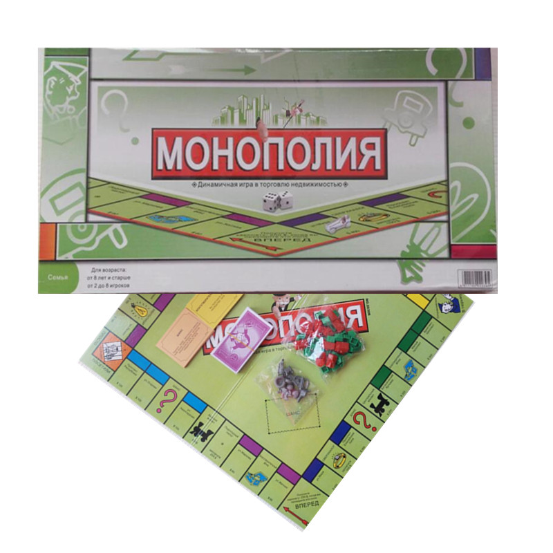 Russian Spanish French Arabic English Version Board Game Monopoli Playing Cards Game Toys Gift For Children Kid New Year Family