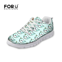 FORUDESIGNS Spring Flats Women Shoes Cute Blue Dolphin Fashion Lace up Sneakers Woman Flat Comfortable Shoes Zapatos Mujer 2018