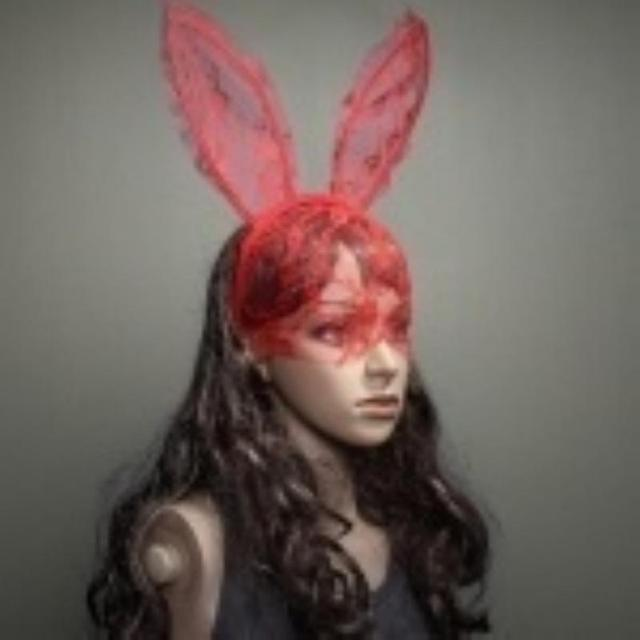 women girl hair bands lace rabbit bunny ears veil red eye mask halloween party headwear hair