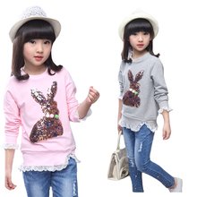 Girls T-Shirts Long Sleeve Cartoon T-Shirts For Girls Tees Cotton Bunny Bottoming Shirts Spring Autumn Tops 4 6 8 9 10 12 Years boys t shirts for clothes autumn turndown collar pullover children long sleeve spring school uniform t shirt 4 6 8 10 12 years