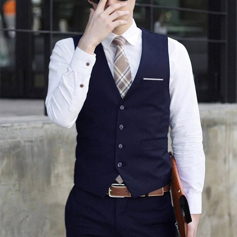 2019 New Men's Formal Business Casual Dress Vest Suit Slim Fit Tuxedo Male Waistcoat  Sleeveless Coat Chaleco