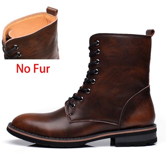 5d5c913c3 SURGUT Men Motorcycle Boots Vintage Combat Boot Winter Fur 2019 New ...
