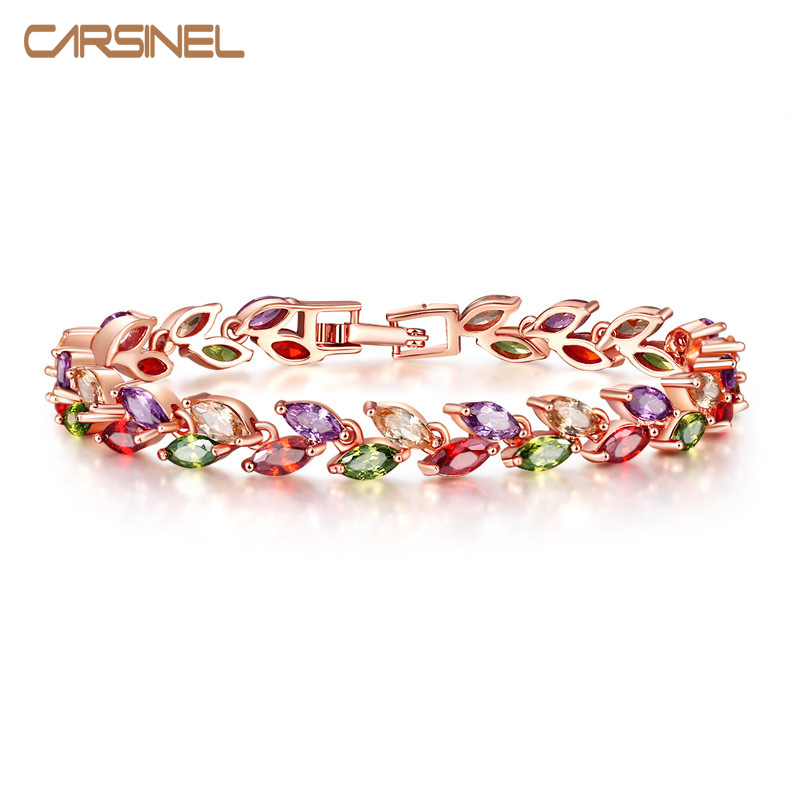 FYM Colorful Cubic Zirconia Bracelet For Women Rose Gold Color Snake Chain Jewelry Bracelets Luxury Engagement