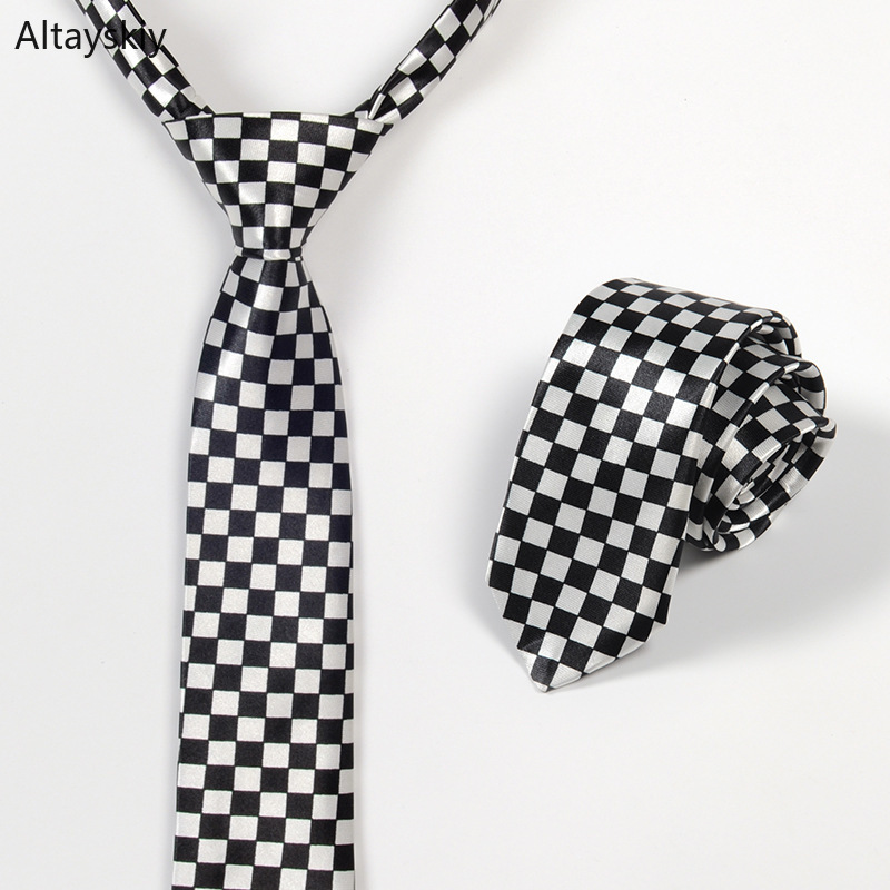 Ties Women Plaid Dots Checkerboard Printing Narrow British Style Womens Neck Tie Office Ladies Elegant Leisure All-match Trendy