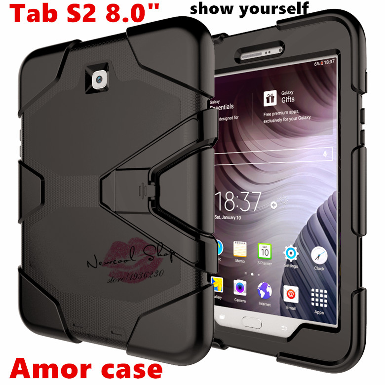 WES GLF Amor Heavy Duty case For Samsung Galaxy Tab S2 8.0 SM-T710 T715 T710 Tablet case Silicone +PC Back Cover Kickstand Case