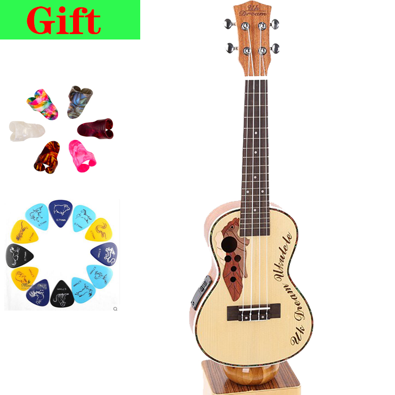 Electric Ukulele Musical 23 Inch Spruce Sapele Grape Hole 4 Strings Guitar With Electric Box Small Instruments 12 Frets UC-316EQ 23 inch full sapele heart shaped lettering guitar musical stringed instruments 4 strings guitar 18 frets ukulele guitarra uc 118