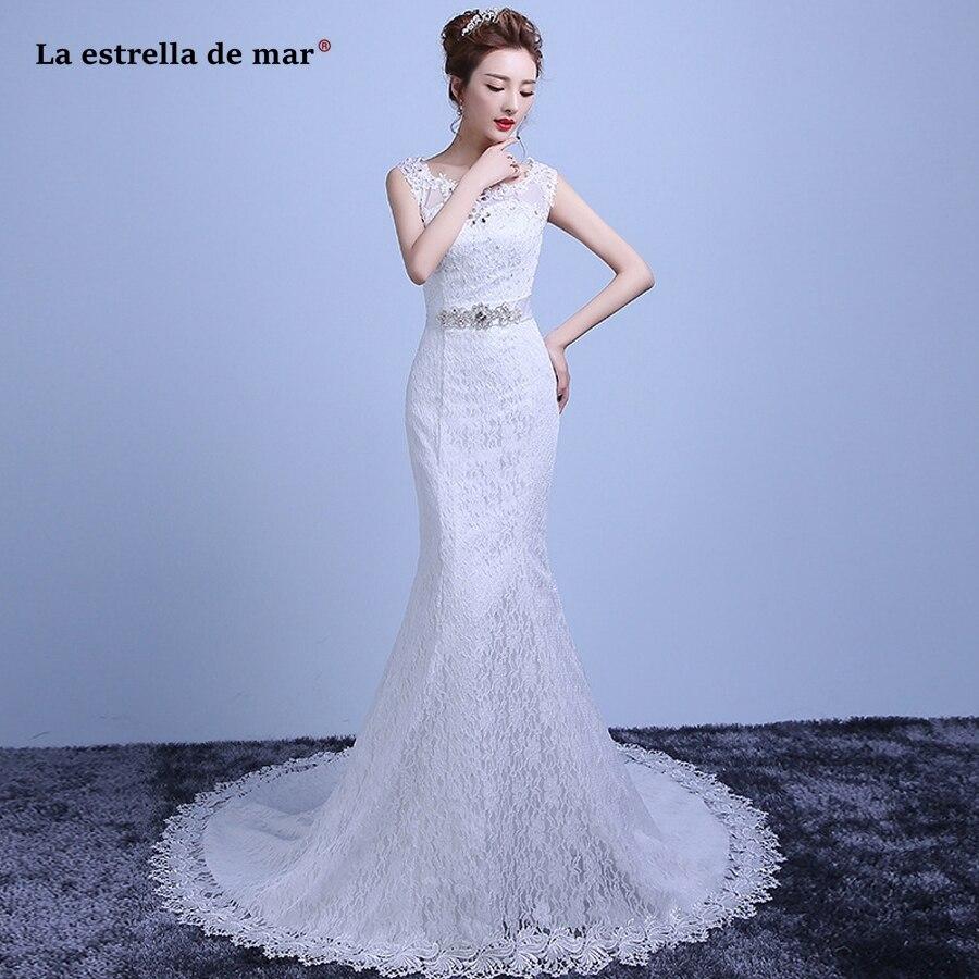 Hochzeitskleid 2019 Hot Scoop Neck Lace Back White Sexy