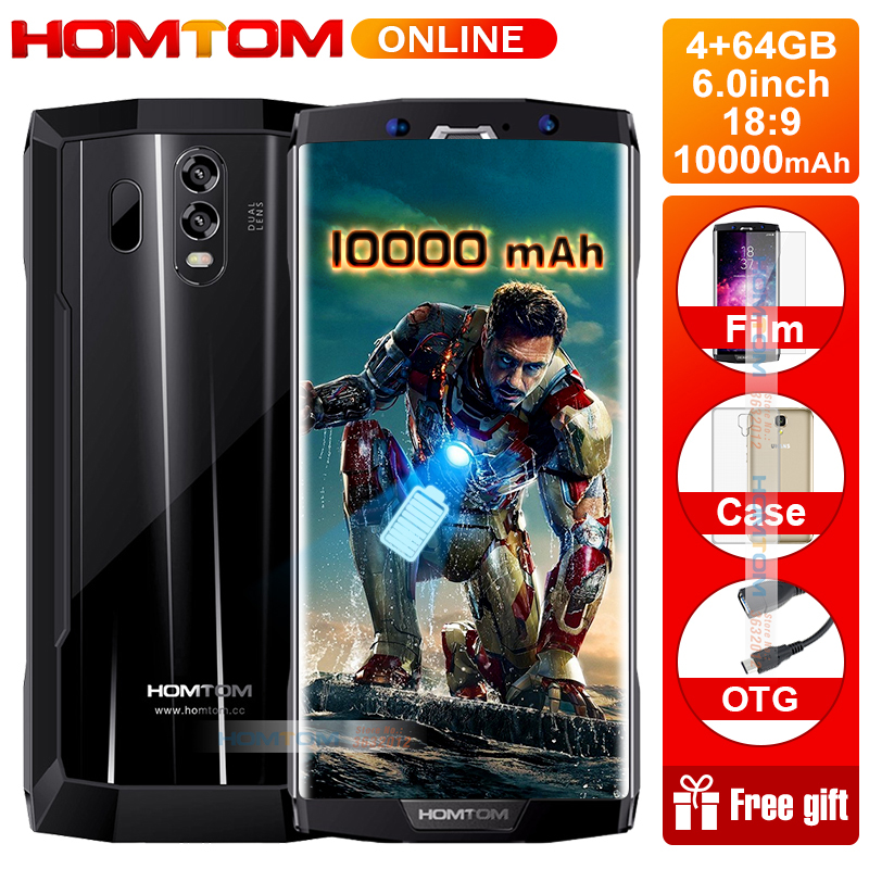 HOMTOM HT70 10000mAh Battery 6.0 HD 18:9 Screen Smartphone MTK6750T Octa Core 4G RAM 64G ROM 16MP+5MP Dual Cam 4G mobile phone