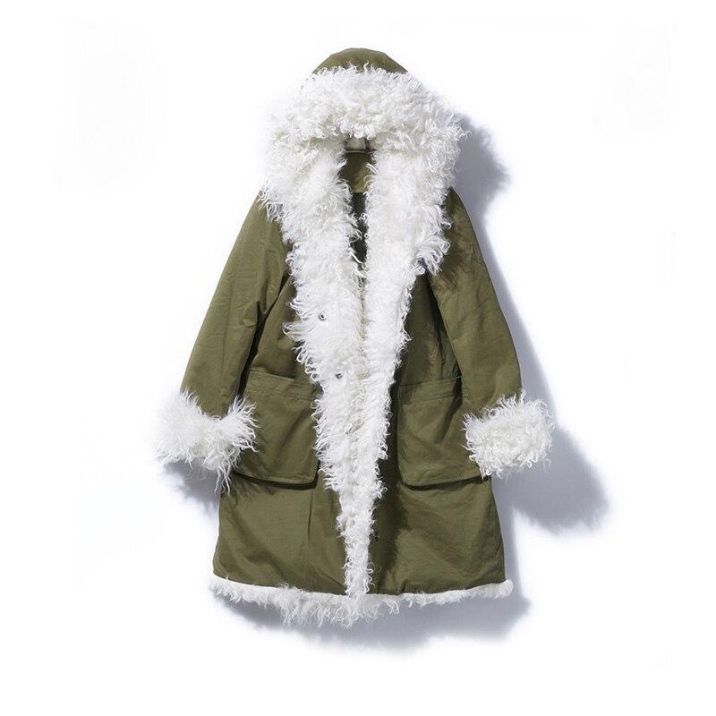 Натуральный мех пальто 2018 длинные Парка на пуху свободные зимняя куртка Для женщин Природные Монголии овечьем меху женские белая утка вниз ...
