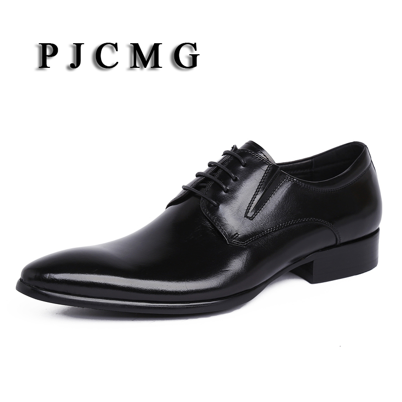 PJCMG New Italian Style Luxury Men Genuine Leather Pointed Toe Lace-Up Men Dress Business Men Brand Oxfords Shoes Size 37-44 leisure footwear new 2016 suede european style leather buckle shoes mens luxury brand pointed toe italian dress shoes for men