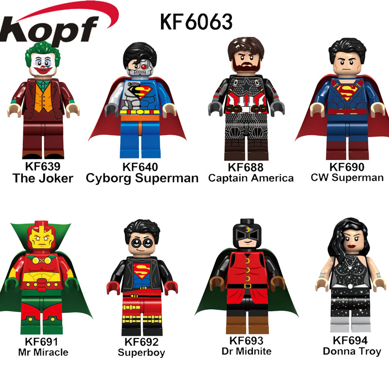 Single Sale Building Blocks Super Heroes Joker Superman Captain America Superboy Figures Collection Toys For Children KF6063