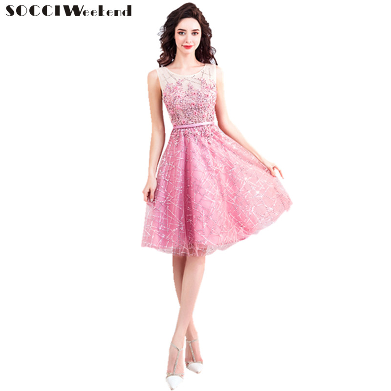SOCCI Weekend Pink Beaded Lace Appliques   Cocktail     Dresses   2018 New Sleeveless Slim Vestido De Formal Party Gala   Dress   Prom Gowns