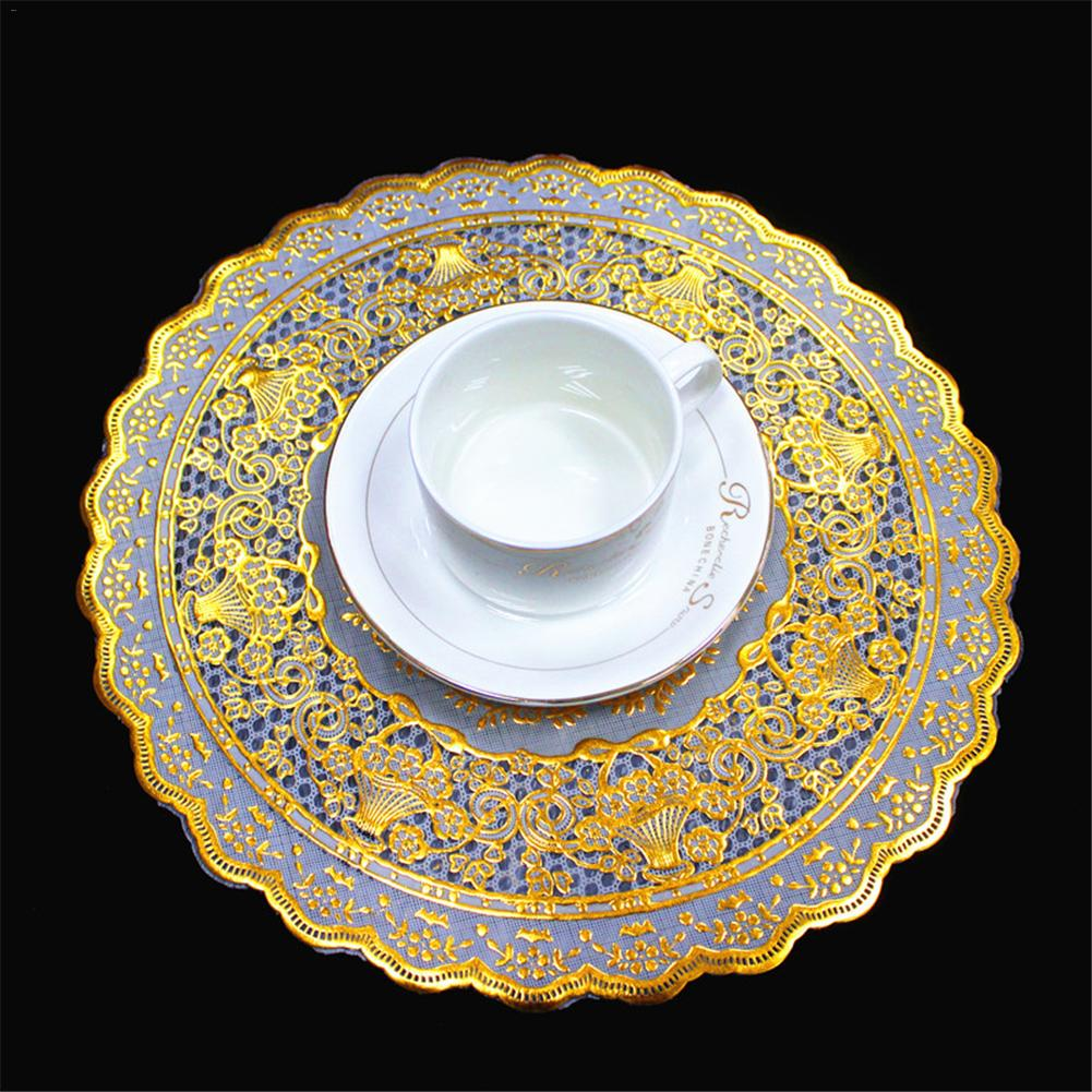 30 CM Waterproof Table Mat Gold Round Table Mat Lace Doily Placemat Round