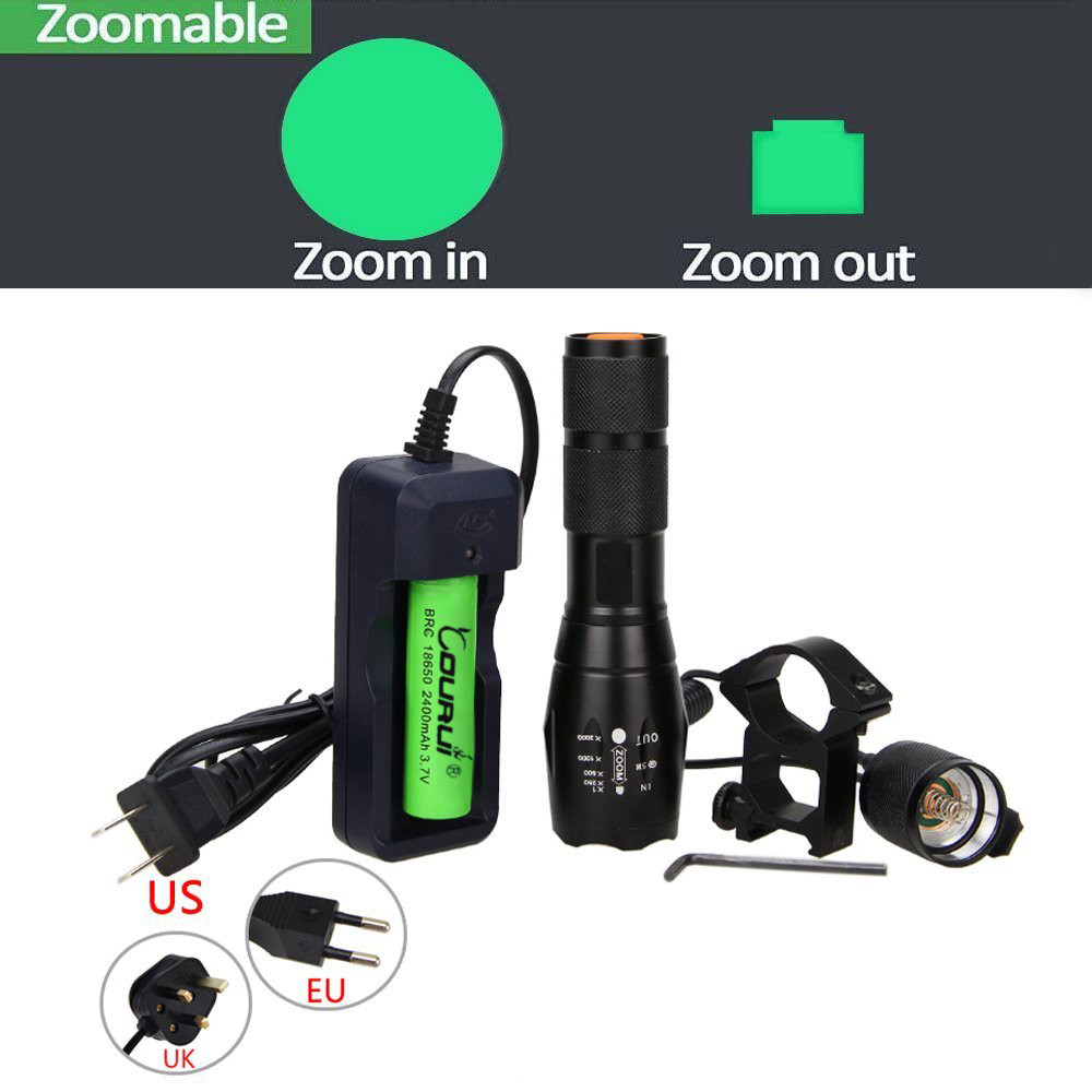 Anekim 350 yard Zoomable Green Light Flashlight Set for Predator Coyote Pig Varmint Deer Hog Night Hunting with Remote Pressure