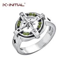 Kinitial Fashion Micro Inlayed Retro Compass Cross Rings For Women Men Wedding Cubic Zircon CZ Crystal Signet Ring Jewelry(China)
