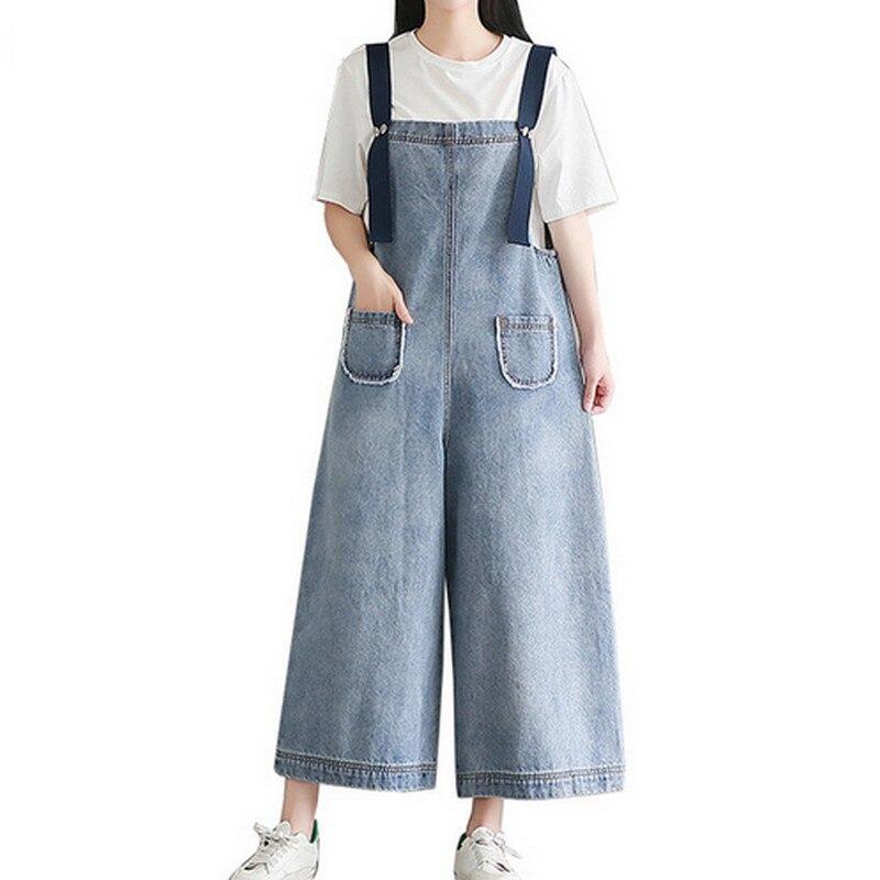 Women's Clothing #4679 Patch Adjustable Strap Jeans Jumpsuit Woman Wide Leg Denim Overalls For Women Big Size Loose Ladies Denim Jumpsuits Tide