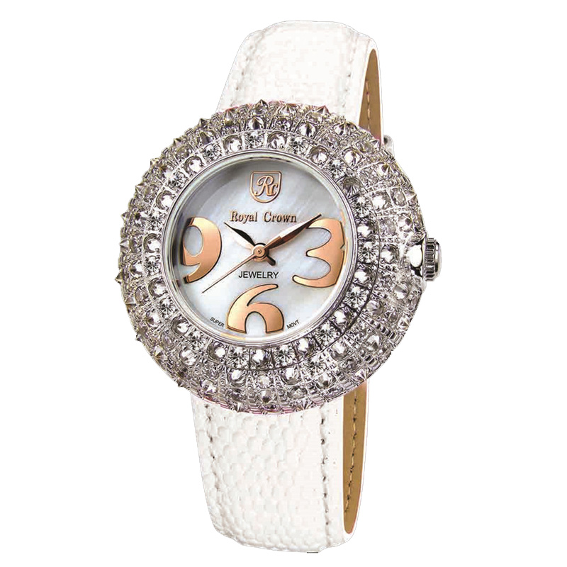 все цены на Royal Crown Large Lady Women's Watch Japan Mov't Full Crystal Hours Fine Fashion Dress Clock Bracelet Luxury Rhinestone Gift онлайн